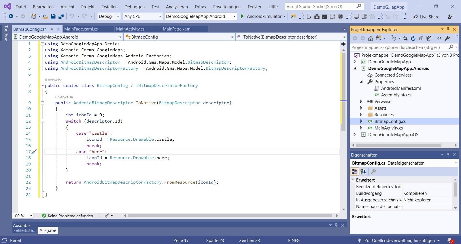 Visual Studio Xamarin Bitmap Config for custom icon google maps pin Nerd Corner