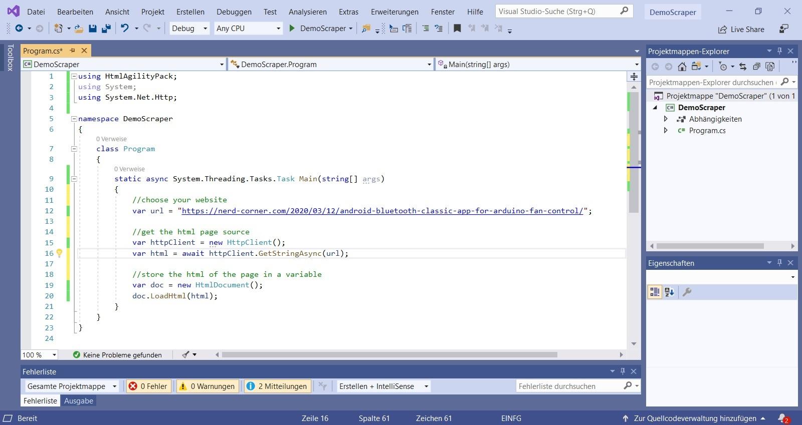 Screenshot web scraper load html data Nerd Corner