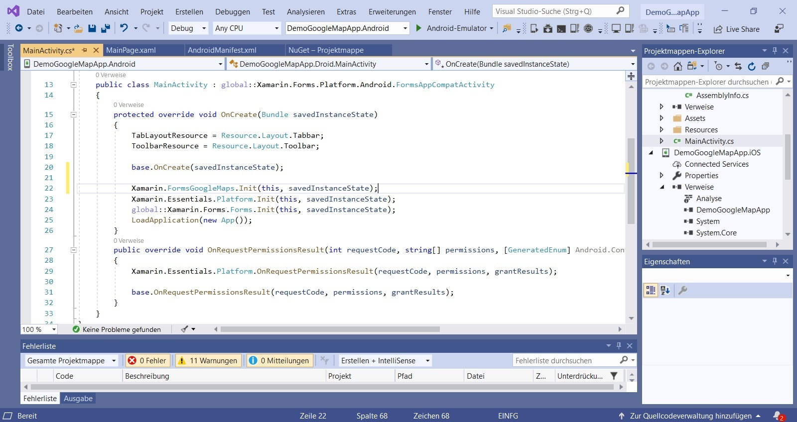 Visual Studio Xamarin Integrate Google Maps Line for main activity Nerd Corner