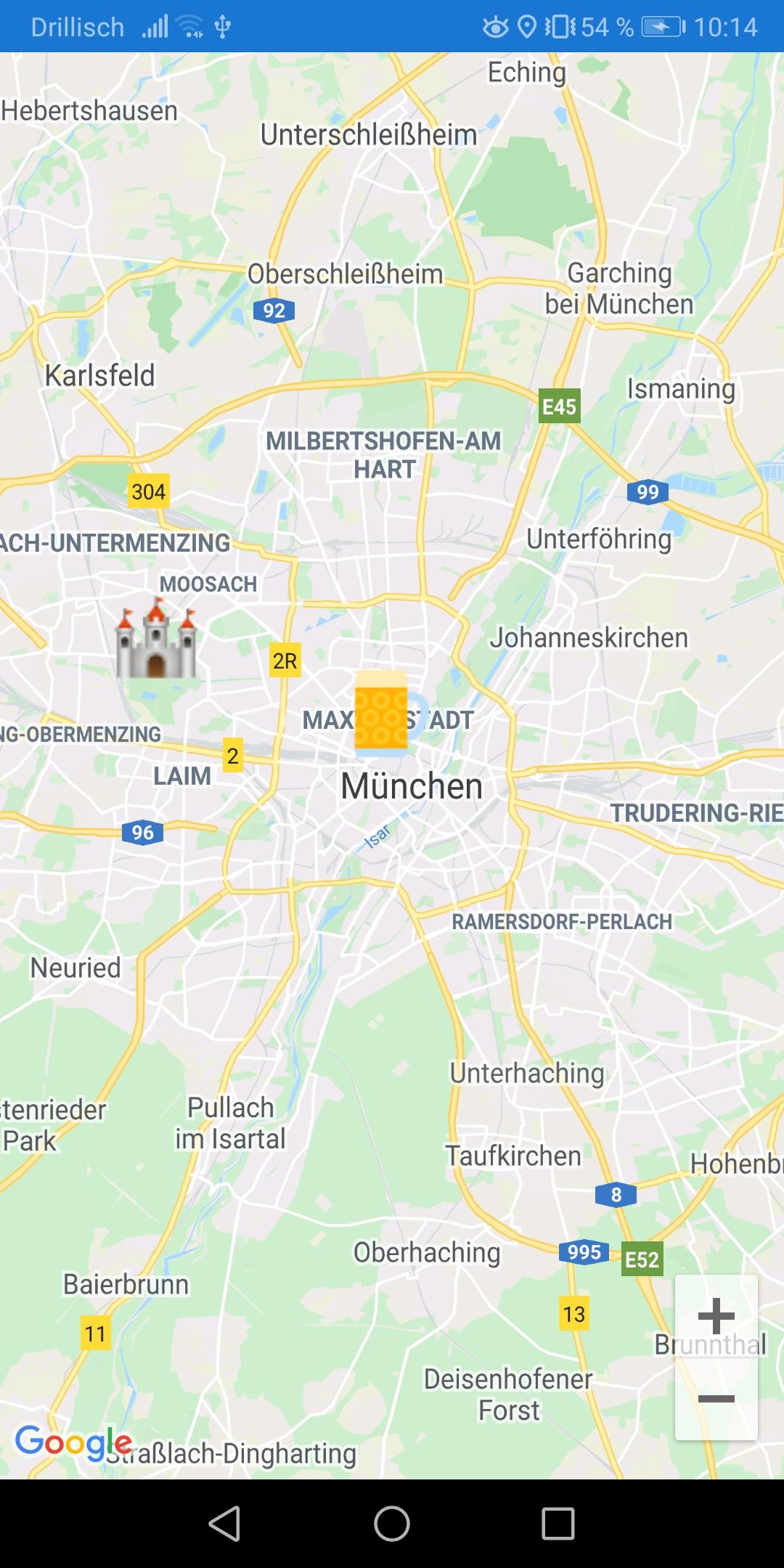 Screenshot Xamarin Forms App with custom Google Maps Pin marker image Nerd Corner