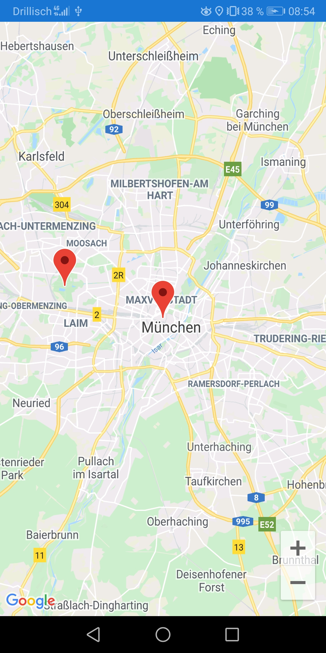 Screenshot Google Maps in App