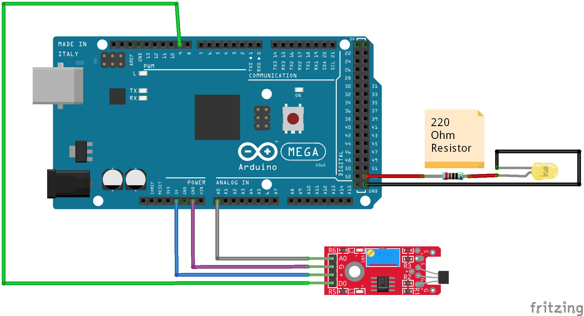 Wiring the KY024 hall sensor to an arduino