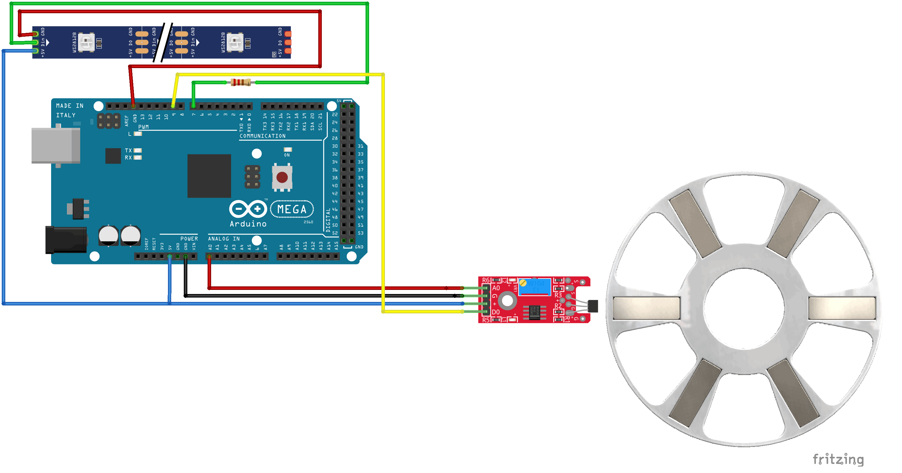 Hall Sensor movement detection wheel wiring fritzing hall effect