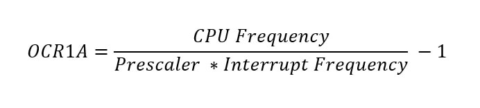 Formula for Arduino Timer Interrupt Frequency calculation OCR1A register