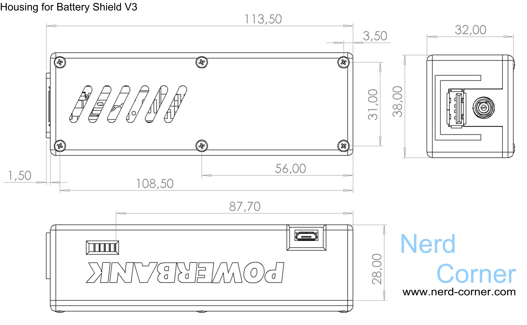 CAD plan with size for the battery shield v3